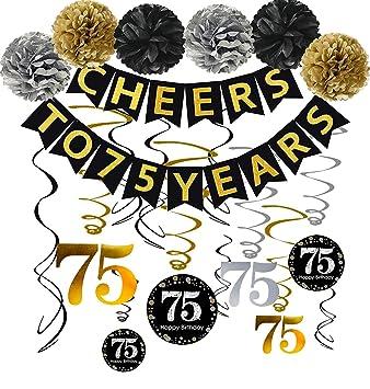 Amazon.com: Juego de decoraciones de fiesta de 75 cumpleaños ...