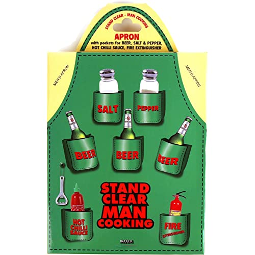 "Mens Beer Apron - ""Stand Clear Man Cooking"""