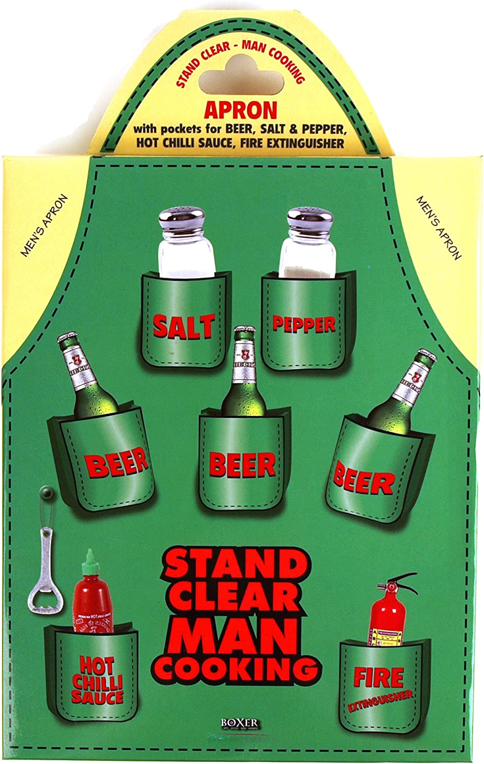 """Mens Beer Apron - """"Stand Clear Man Cooking"""""""