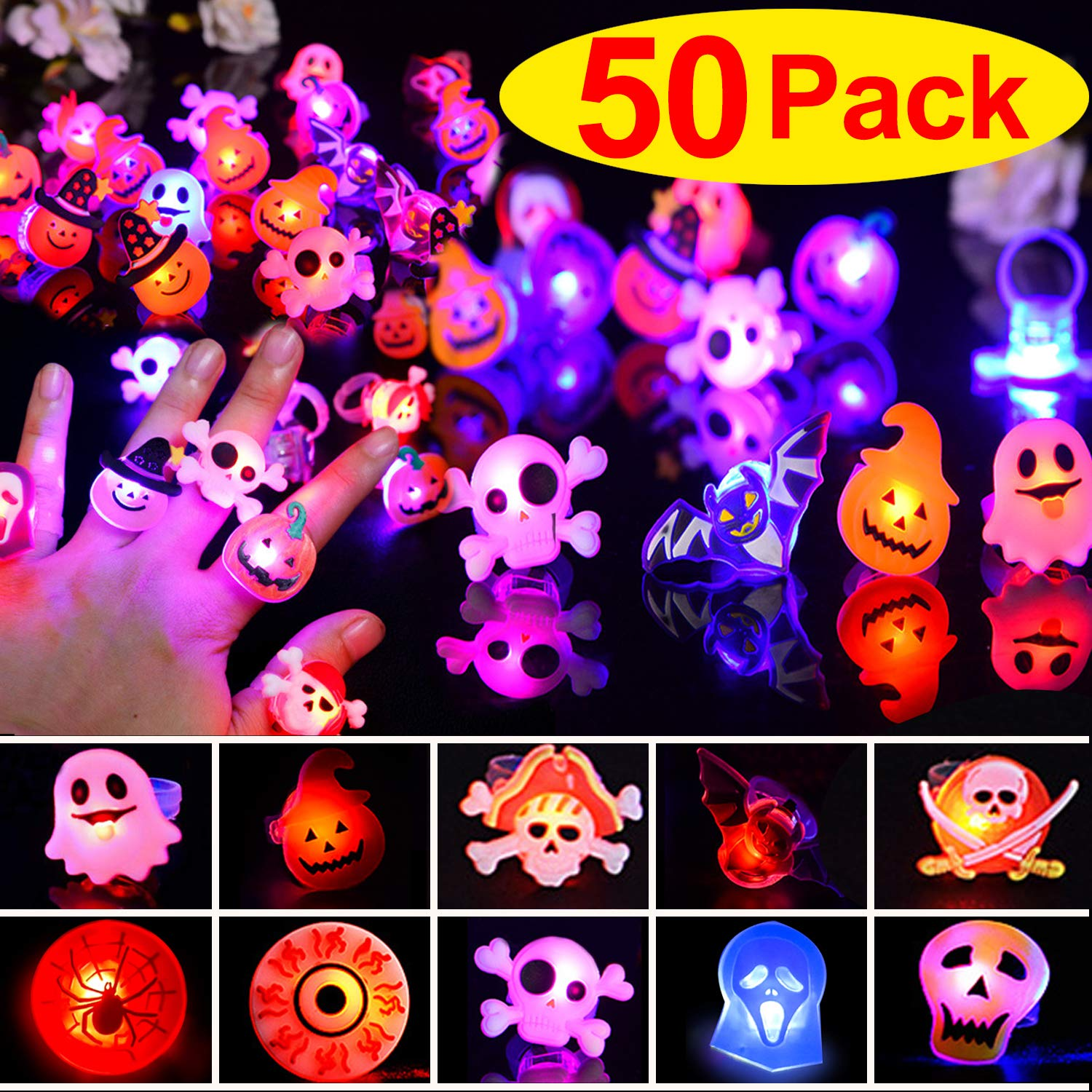 50 Pack LED Light Up Rings Halloween Glow in The Dark Party Supplies Birthday Party Favors for Kids Prizes Flashing LED Luminous Rubber Pumpkin Ghost Spider Finger Rings for Boys Girls Gifts 9 Styles by TURNMEON