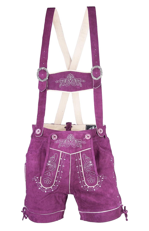 Damen Trachten Lederhose Almfranzi lila Marke Achim Klein
