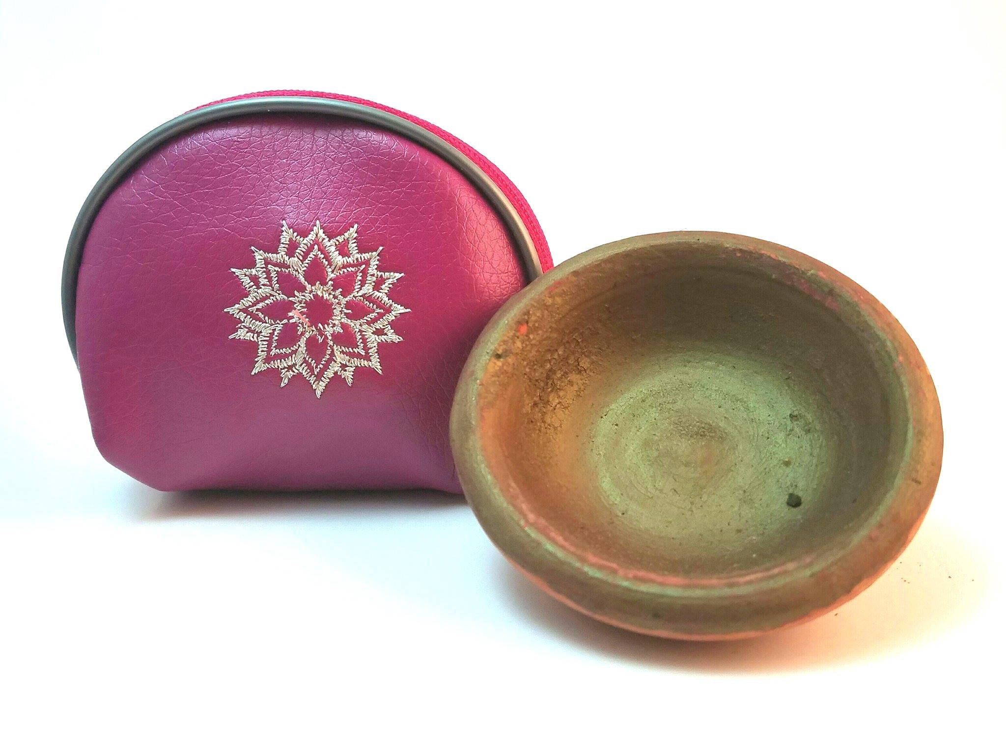 Moroccan Clay Pot Lip and Cheek Stain – Totally - Organic with designer Brush applicator. Includes Handmade Artisan Key chain Bag. (Rose Keychain Bag)