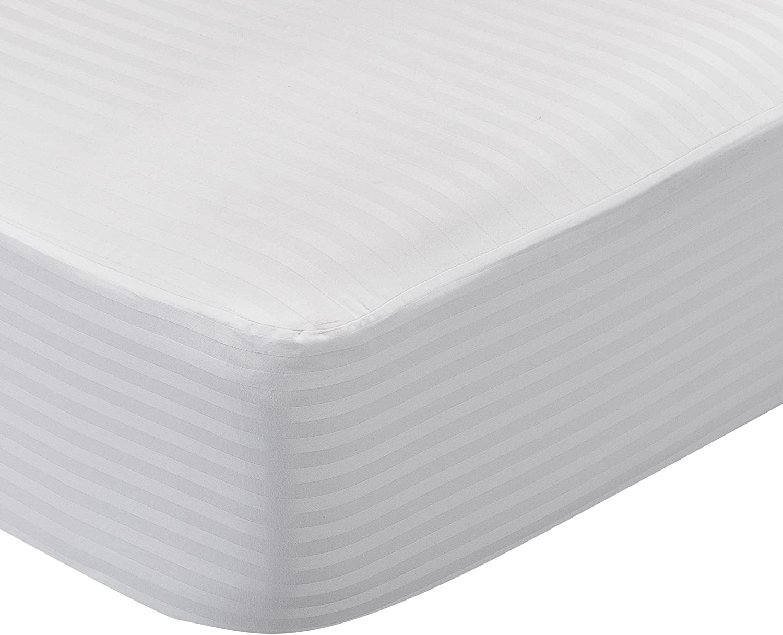 100/% algod/ón Reversible. Blanco 135x190 cm Protector de colch/ón acolchado