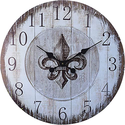 LuLu Decor, Fleur De Lis Round Wood Wall Clock 23.50 Heritage