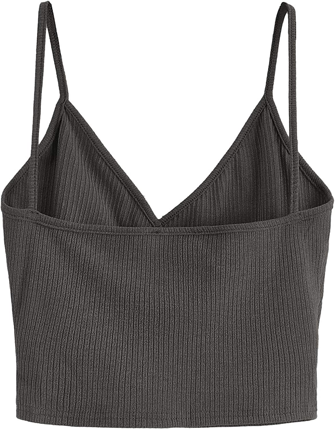 SheIn Womens Casual V Neck Ribbed Knit Overlap Front Crop Cami Top