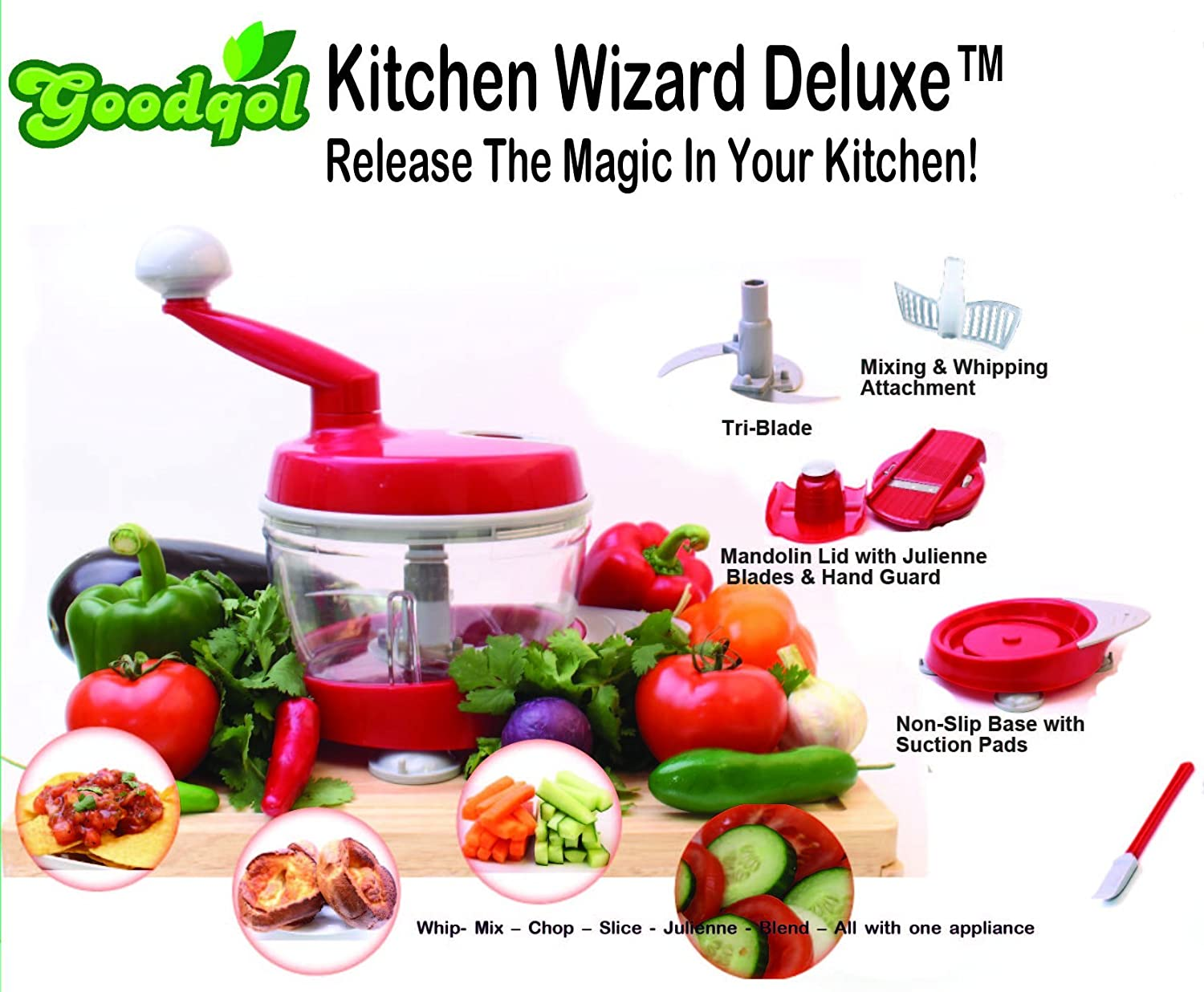 Kitchen Wizard Deluxe Food Processor (It chops, slices, dices, spins ...