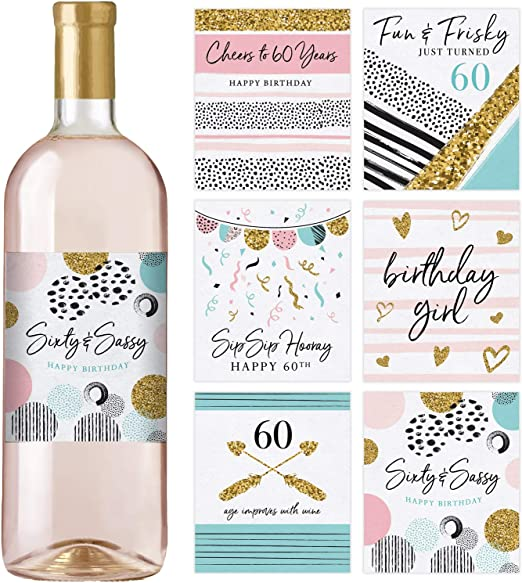 Funny Birthday Gifts for Women Ideas and Decorations Chic 60th Birthday Wine Label Pack Birthday Party Supplies