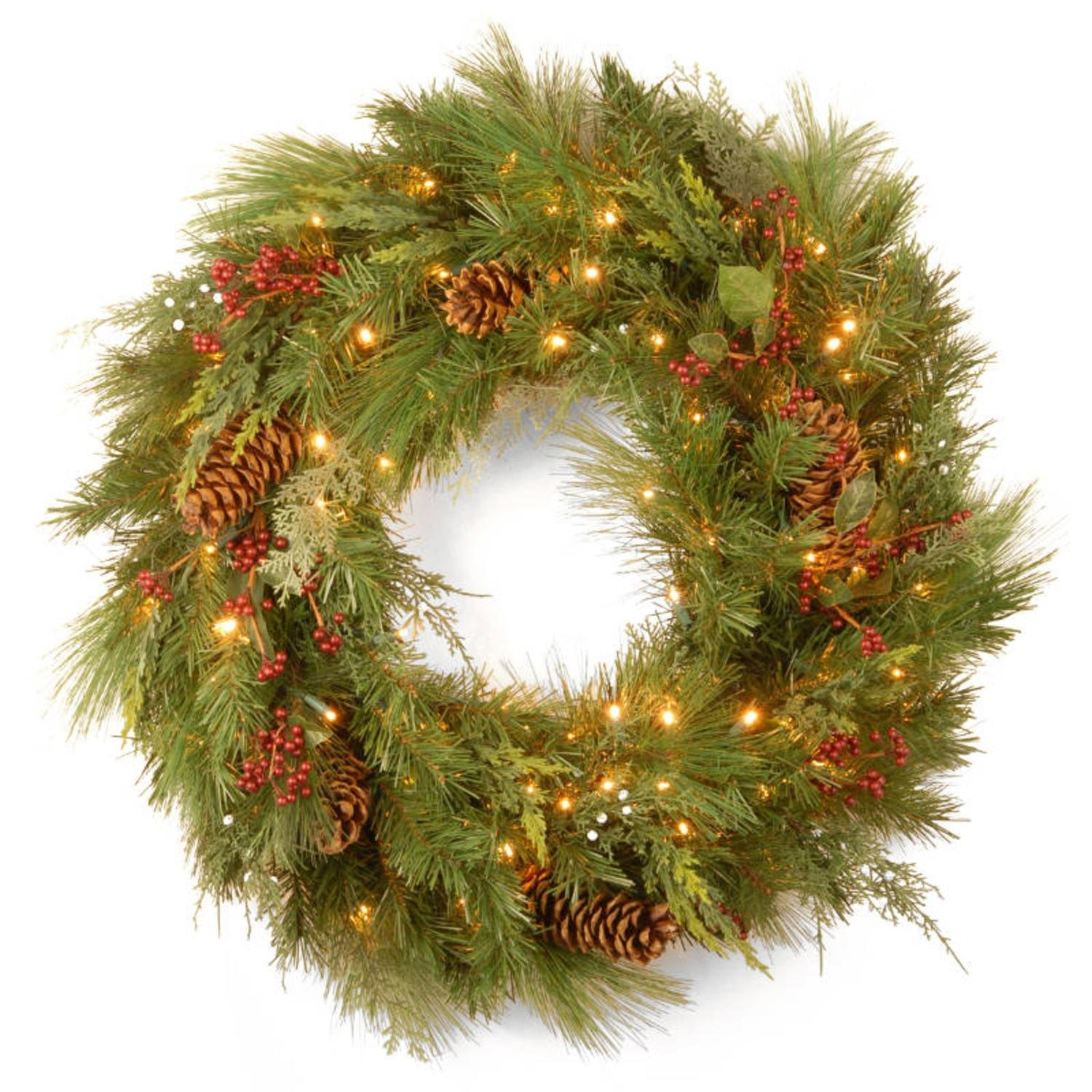30'' Pre-Lit Battery-Operated White Pine Artificial Christmas Wreath - Warm Clear LED Lights