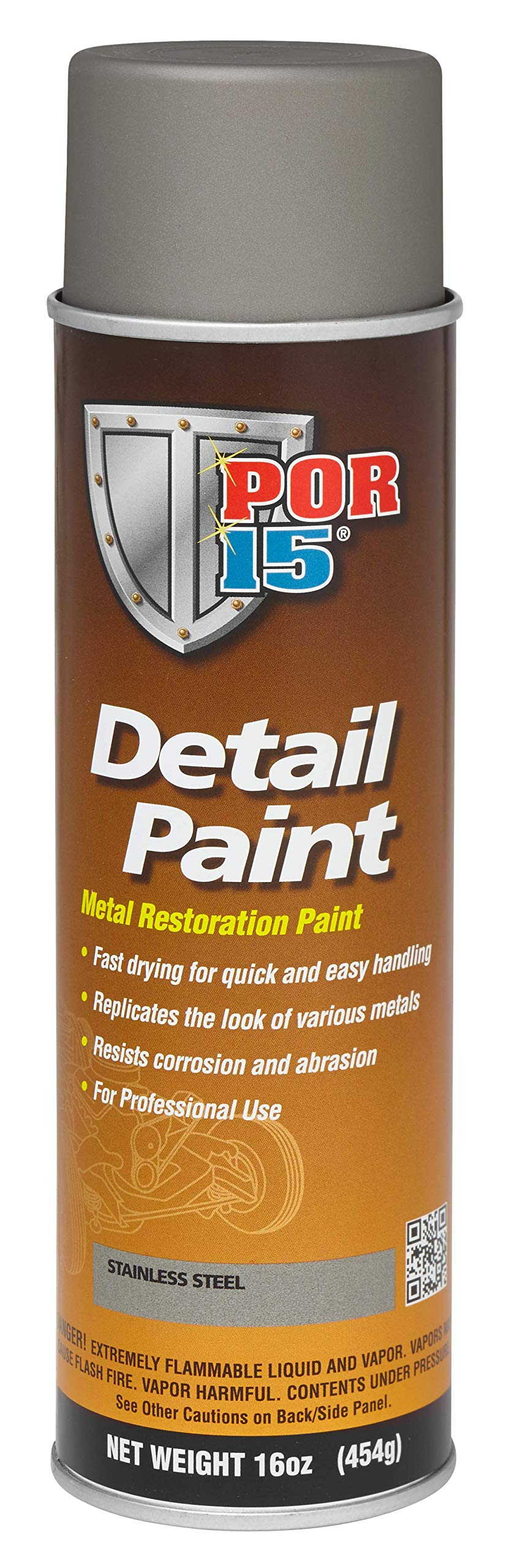 POR-15 41818 Stainless Steel Detail Paint Aerosol - 16 fl. oz