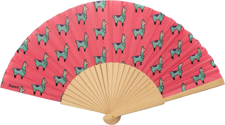 FISURA Abanico de Madera y Tela de Gran Calidad con Diseño Original con Llamas | Abanico de Mano Plegable Para Bodas y Eventos | Accesorio de Verano para Mujer/Hombre | Color Rosa: