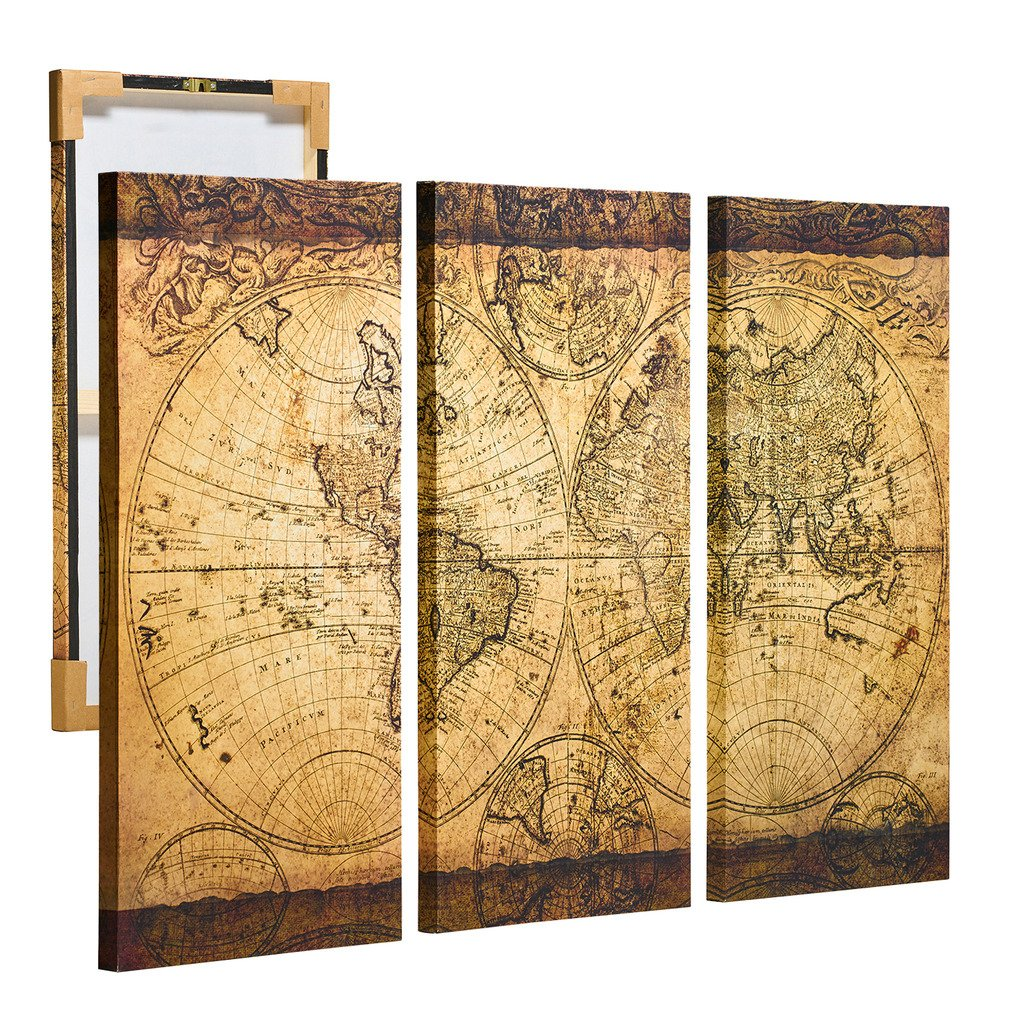 Decor MI Vintage World Map Canvas Wall Art Prints Stretched Framed ...
