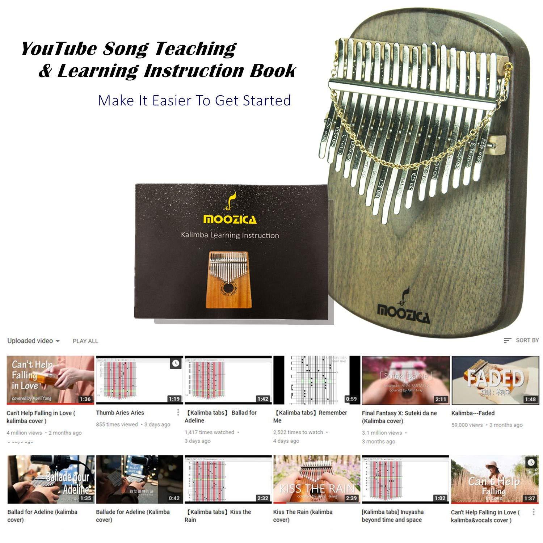 Moozica Kalimba 17 Keys Solid Walnut Wood Kalimba, Solid Walnut Wood Single Board Thumb Piano Marimba with Learning Instruction(K17S-W) by Moozica (Image #8)