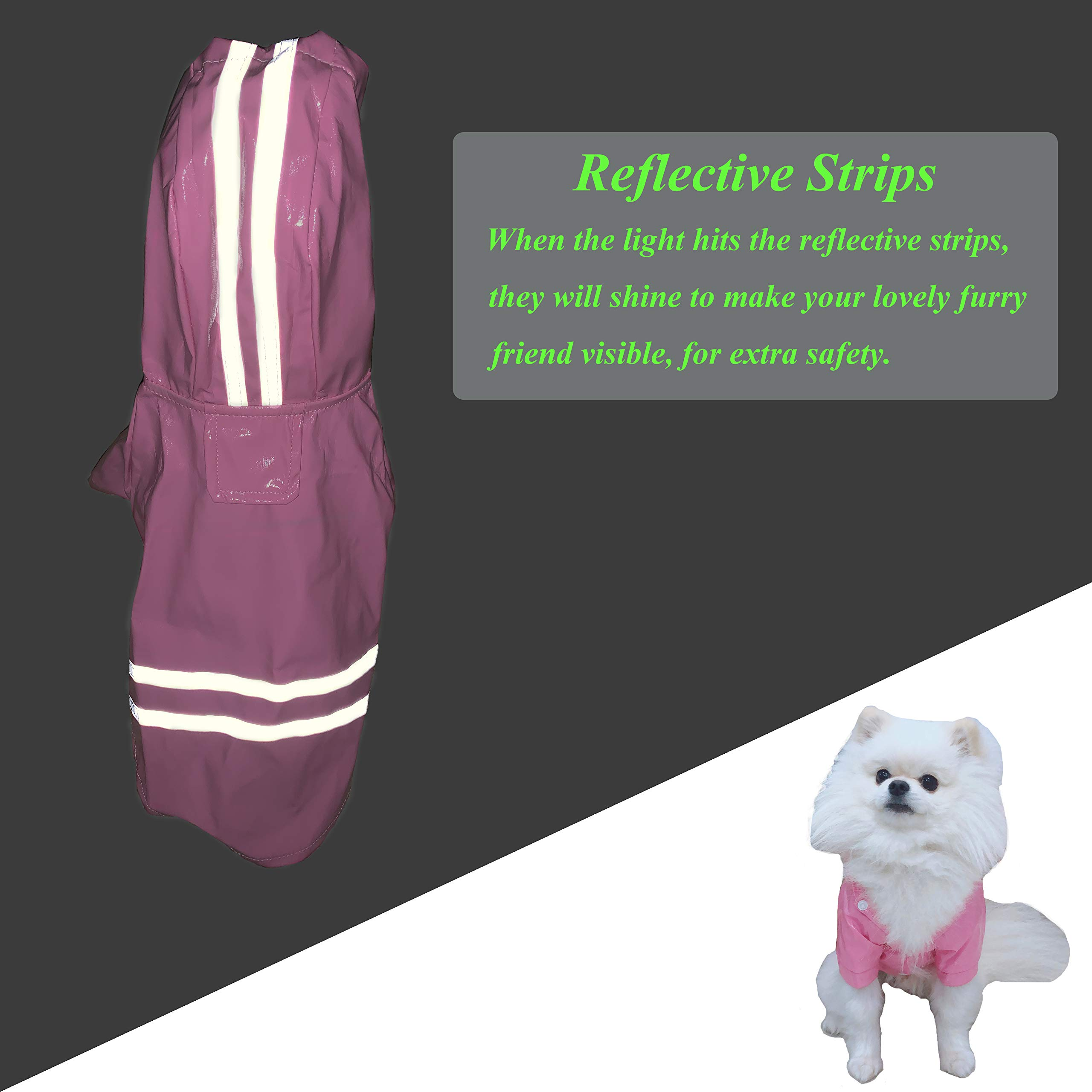 Cutie Pet Dog Raincoat Waterproof Coats for Dogs Lightweight Rain Jacket Breathable Rain Poncho Hooded Rainwear with Safety Reflective Stripes (M, Pink)