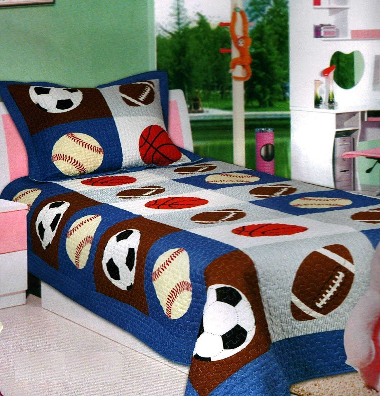 Elegant Home Multicolor Sports Soccer Basketball Baseball Football Design 2 Piece Coverlet Bedspread Quilt for Kids Teens Boys # 18-07 (Full Size)