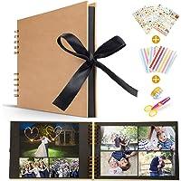 Koooper Scrapbook Alblums with Black Pages Handmade DIY Family Scrapbook,Wedding Photo Album,Retro Album,Anniversary Scrapbook,Travel Album,Baby photo Album Bonus Gift Box