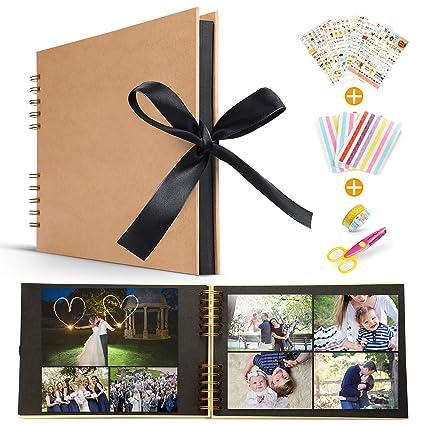 Album Fotografico Fai Da Te Koooper Scrapbook Diy 80 Pagine 40 Fogli Con Forbici Fascia Decorativa In Pizzo Adesivi Regalo Di
