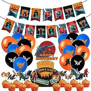 Godzilla Party Decorations 44PCS Monster King Supplies Set 18PCS Latex Balloons, 1 Pack Long Banner, 24PCS Monster Cake Toppers, 1 Pack Big Cake Topper Movie Fan Birthday Room Decor