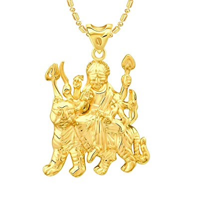 buy vk jewels goddess ambe maa gold plated alloy pendant with chain
