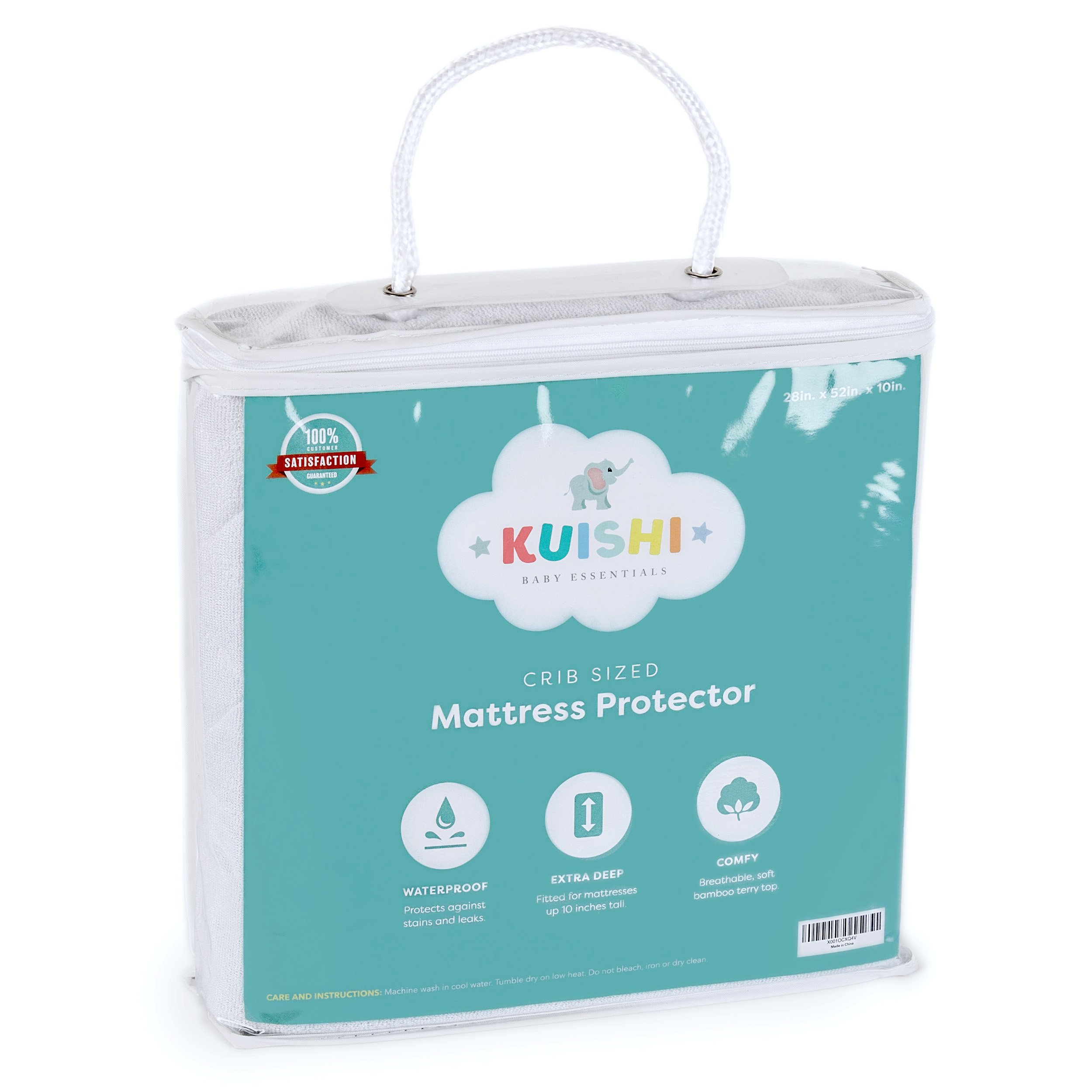 "Kuishi Crib Sized Premium Fitted Waterproof Mattress Protector | Breathable, Comfortable, Machine Wash Safe, Hypoallergenic, Bamboo (28"" x 52"" x 10"") by Kuishi Baby Essentials"