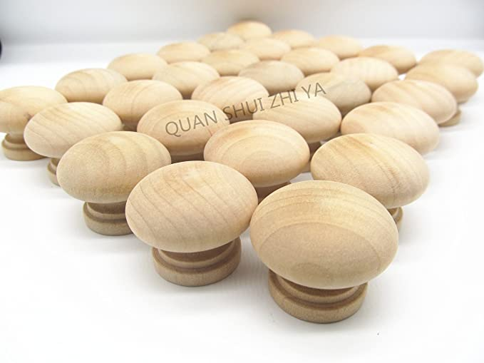 30PCS Round Unfinished Wood Drawer Knobs Pulls Handles - Cabinet Furniture Drawer Knobs Pulls Handles