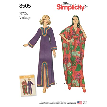 Simplicity Misses Vintage Caftans Sewing Pattern, Paper, White, 22 x ...