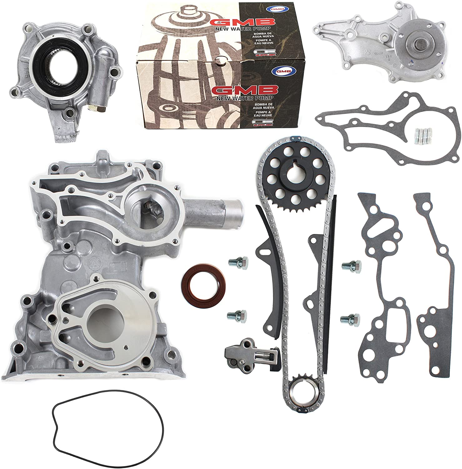 NEW HD Timing Chain Kit (2 Heavy Duty Metal Guides & Bolts) with Timing Cover, Water Pump, Oil Pump compatible with 85-95 Toyota 2.4L 4Runner Pickup Celica SOHC engine 22R 22RE 22REC