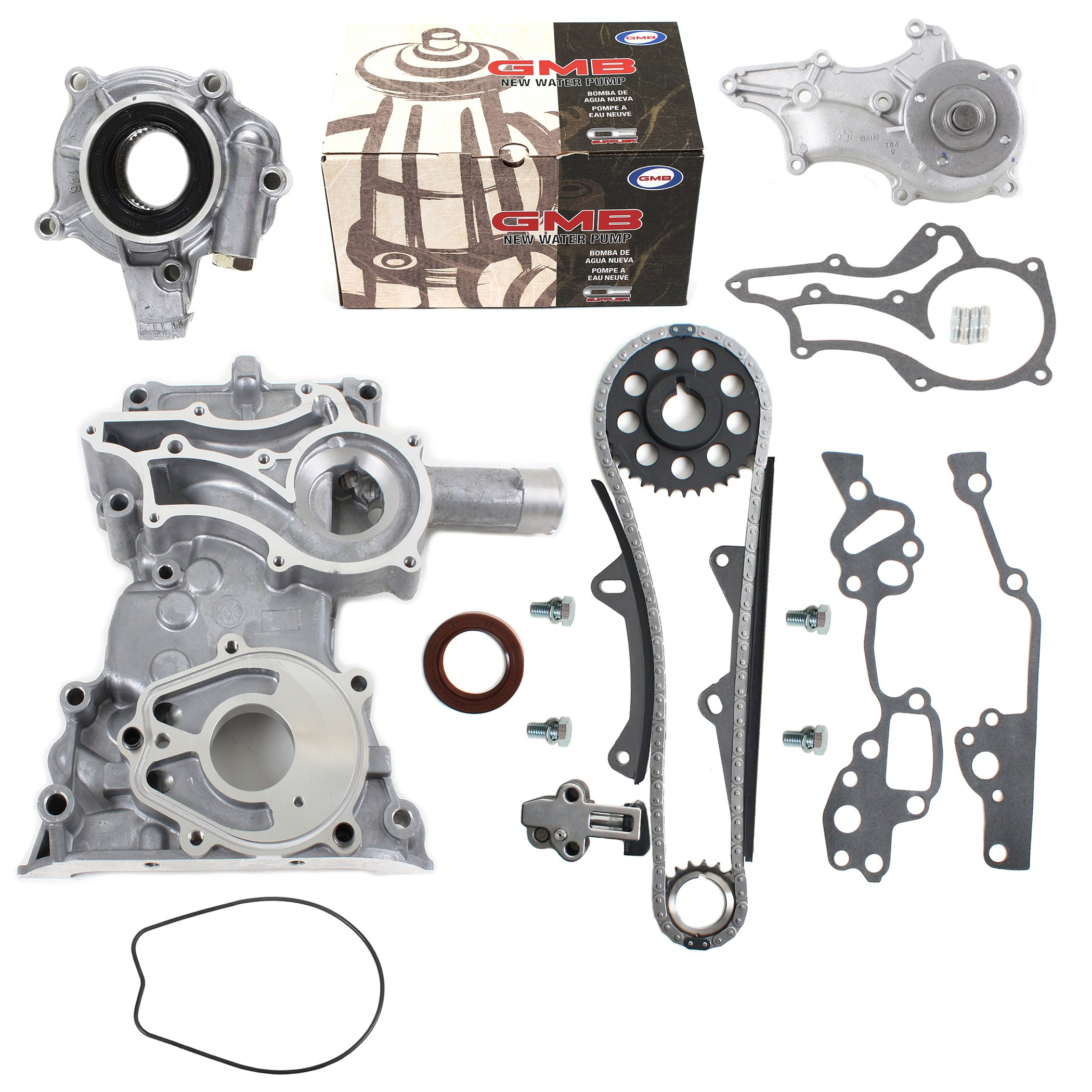 NEW TK10120TCWPOP HD Timing Chain Kit (2 Heavy Duty Metal Guides & Bolts) with Timing Cover, Water Pump, & Oil Pump / 85-95 Toyota 2.4L 4Runner Pickup Celica SOHC 8-Valve Engine 22R 22RE 22REC by CNS EngineParts