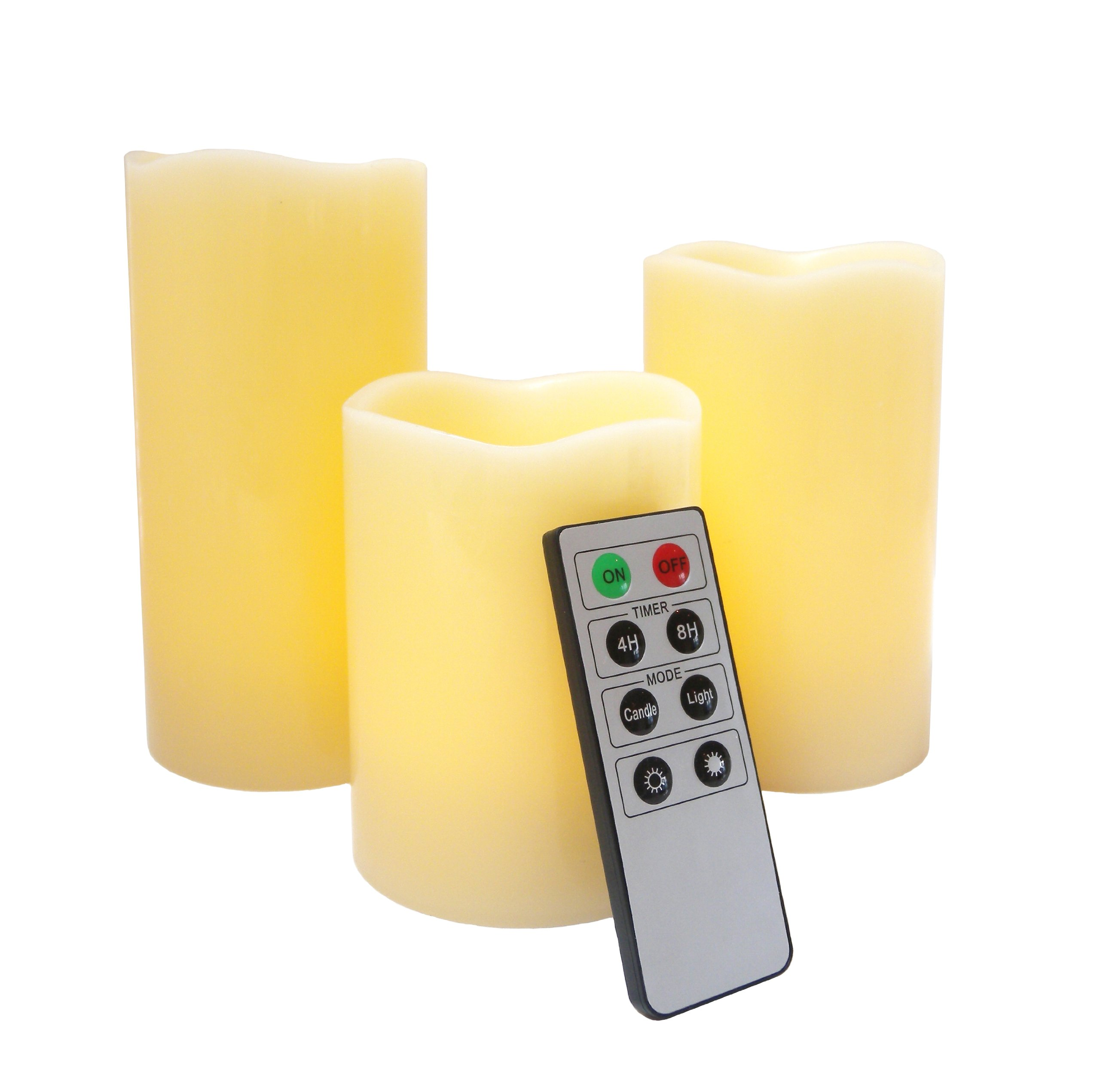 Flameless LED Candles - 3 Mooncandles with Remote Control by FRF