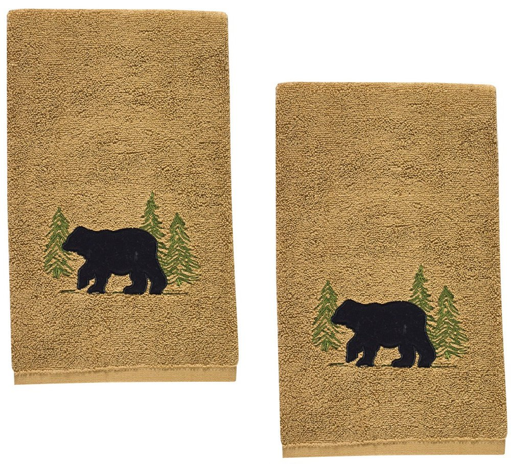 Black Bear Cotton Terry Applique Embroidered Hand Towel - Set of 2