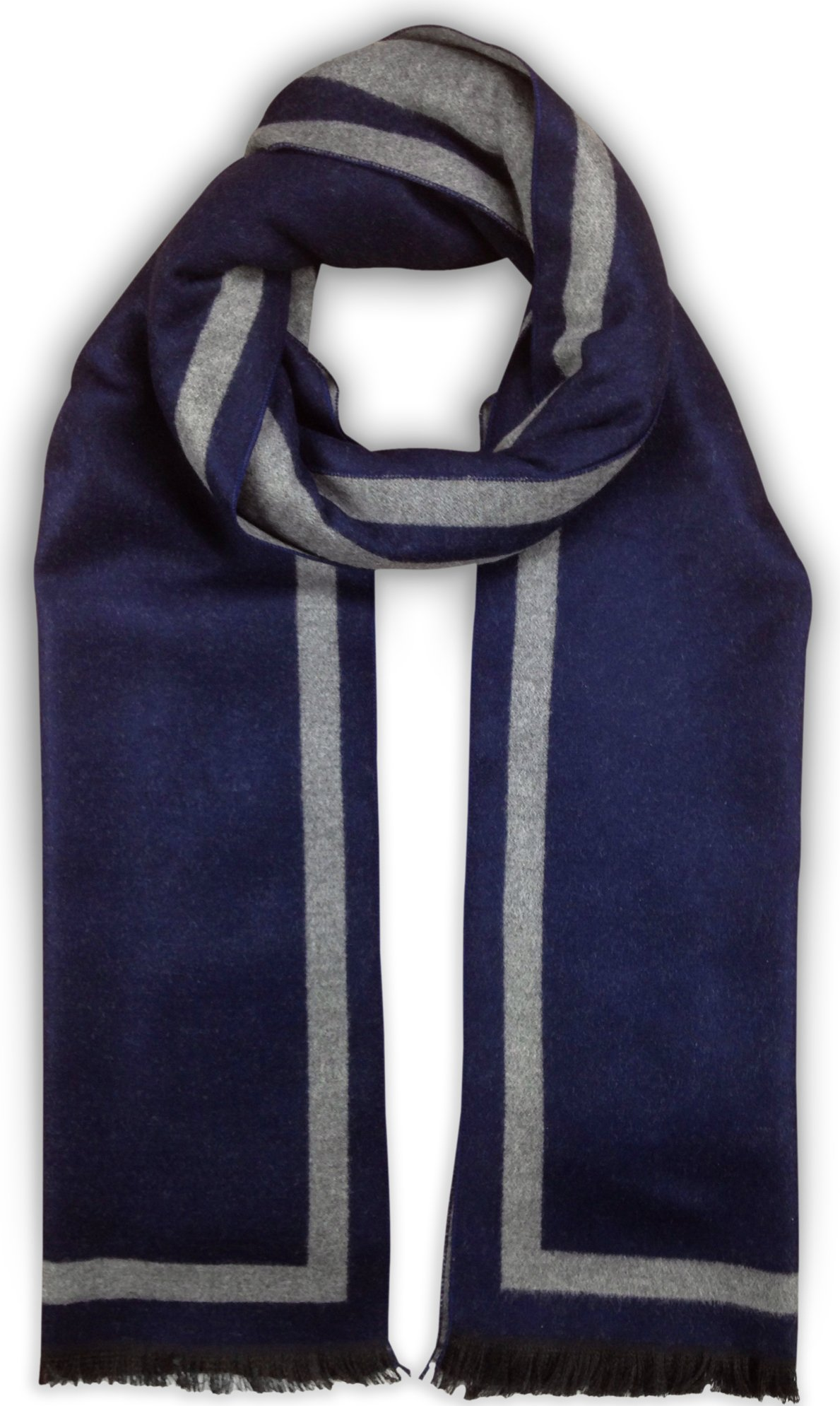 Bleu Nero Luxurious Winter Scarf for Men and Women – Large Selection of Unique Design Scarves – Super Soft Premium Cashmere Feel (Navy + Light Grey Border)