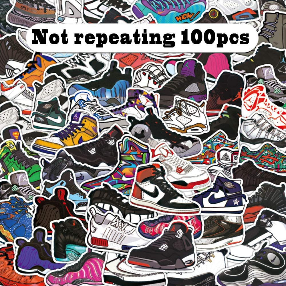 No-Duplicate Basketball Shoes Stickers 100pcs, Basketball Shoes Waterproof Vinyl Stickers for Bottles, Laptop Stickers, Cars, Motorbikes, Bicycle, Skateboard, Luggage, Phone, Ipad, Graffiti Decals