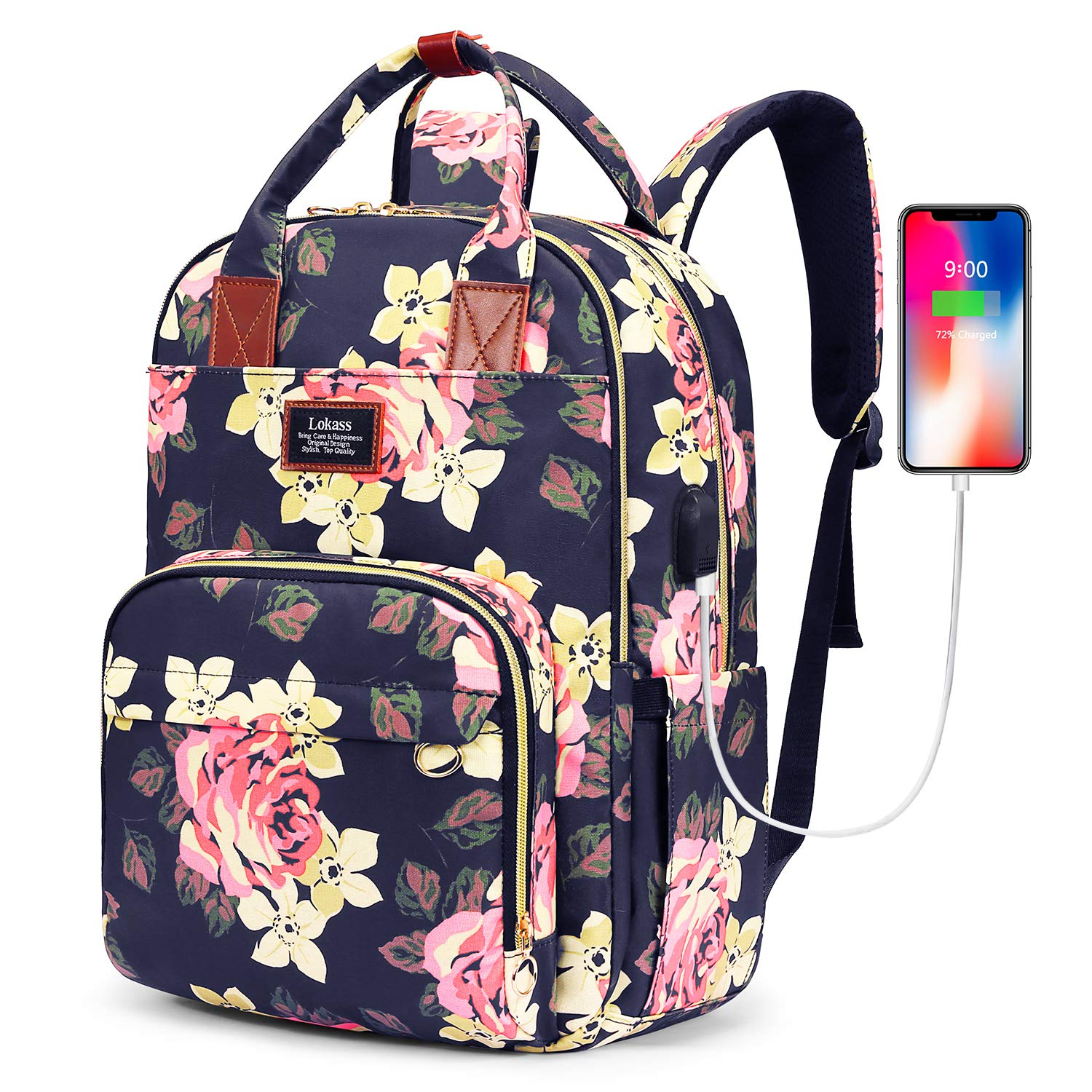 SOCKO Laptop Backpack for Women Floral Hiking Backpack Nylon Travel Backpack with USB Charging Port Wter-Resistant School Backpack Fits 15.6 Inches Laptop (Peony Flower) by SOCKO