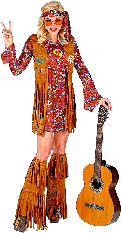 WIDMANN 02864 Disfraz hippie, mujer, multicolor, XL , color/modelo surtido