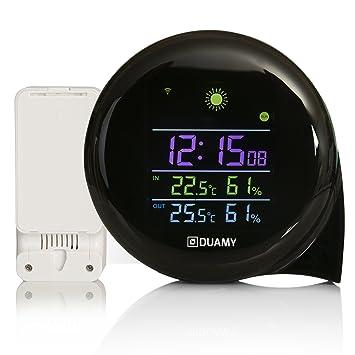 Reloj de Mesa, medición de Temperatura y Humedad.Termómetro, Higrómetro y Despertador incorporados en Nuestro Reloj meteorológico: Amazon.es: Jardín