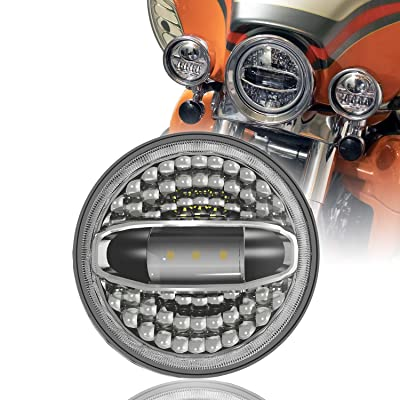 """7\"""" LED Headlight with Halo White for Harley Davidson Road King Street Glide Electra Glide Road King Ultra Limited Heritage Softail Slim Deluxe Fatboy Touring: Automotive [5Bkhe2001508]"""