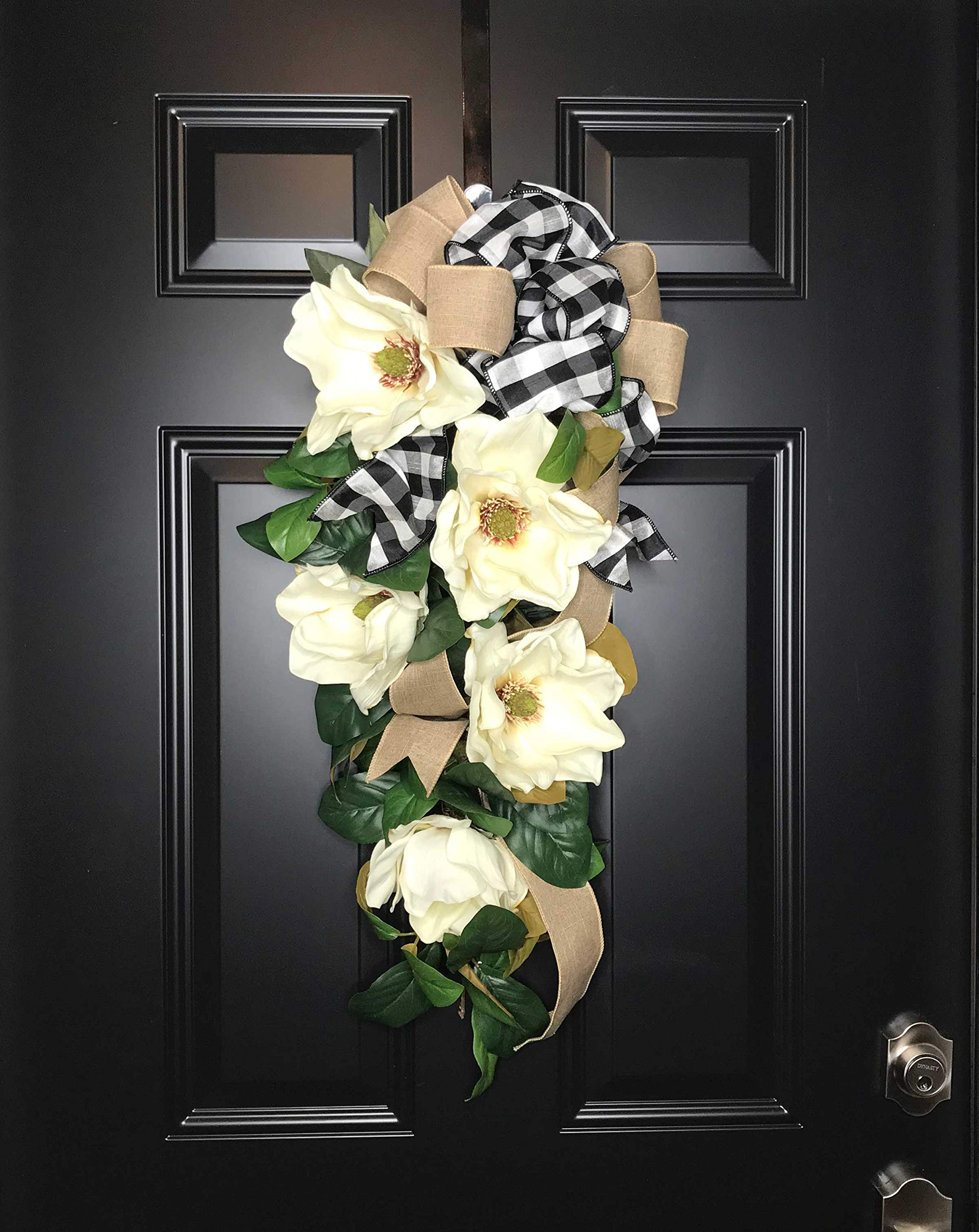 Large Southern Magnolia Teardrop Floral Swag Wreath w/Buffalo Plaid/Check Bow for Front Door Porch Indoor Wall Farmhouse Decor Spring Springtime Summer Summertime Year Round, Handmade, 30''L x 18'' W by Wreath and Vine, LLC (Image #6)