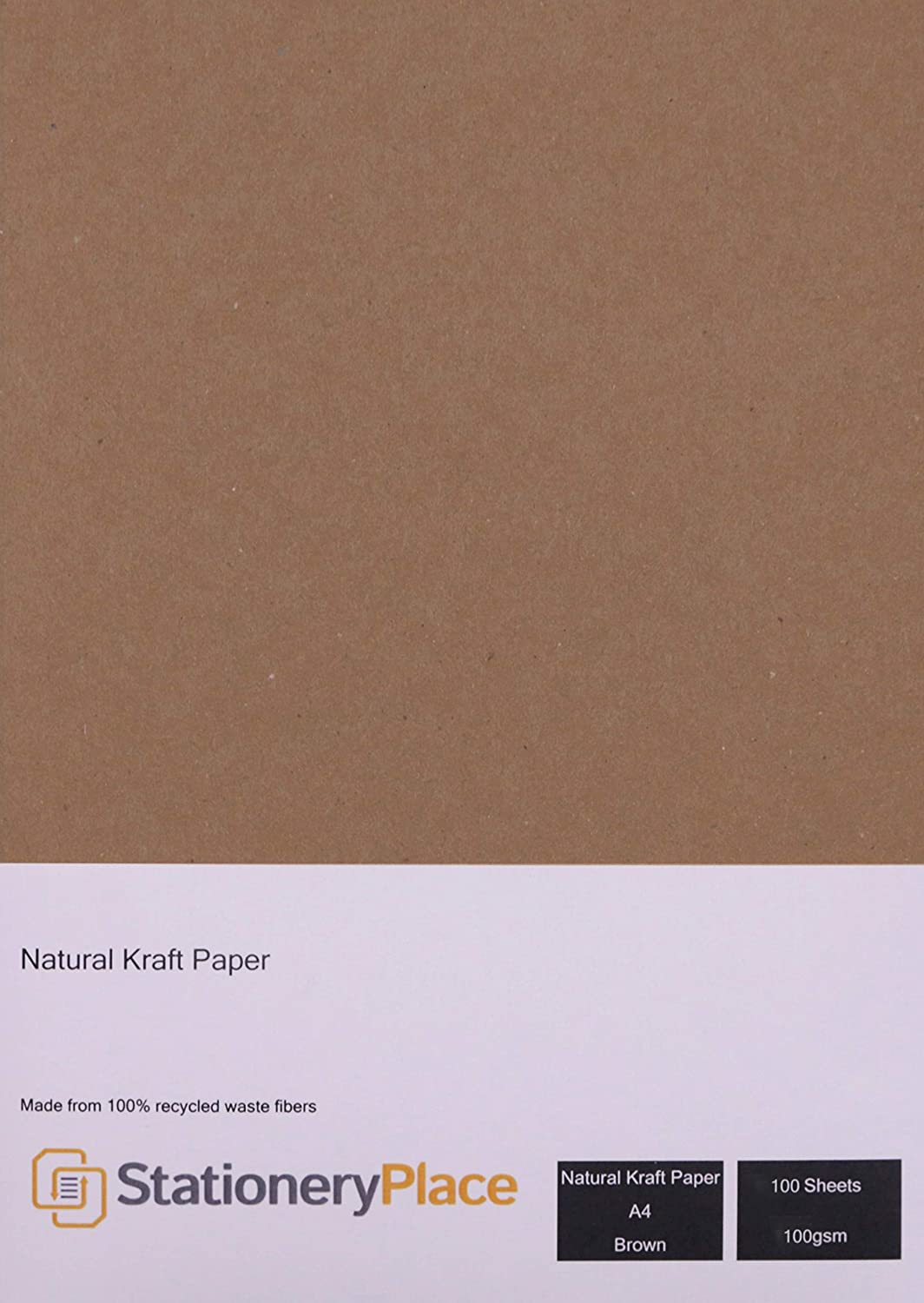 Stationery Place Brown Recycled Natural Eco Kraft Paper - A4 100 GSM 100 Sheet Pack OfficeCentre