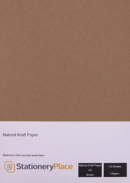 Papel kraft natural reciclado de Stationery Place Kraft Card. Tamaño A4, 100 g/m², 100 hojas, color marrón