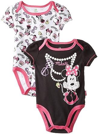 8714398a7 Amazon.com: Disney Baby Girls Newborn Minnie Mouse 2 Pack Bodysuit- Pearls,  Black, 3-6 Months: Clothing