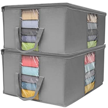 Sorbus Foldable Storage Bag Organizers, Large Clear Window & Carry Handles, Great for Clothes, Blankets, Closets, Bedrooms, and More (Gray)