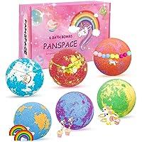 Panspace Badbommen cadeauset voor kinderen, 6 natuurlijke kinderbadbommen met verrassingsspeelgoed binnen, spa fizzies…