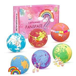 Panspace Unicorn Bath Bombs for Girls with Jewelry Inside, 6 Organic Bath Bombs Gift Set for Kids, Handmade Bubble Bath Bombs Spa Fizz Ball Kit with Surprise Toys for Kids Girls Birthday Christmas
