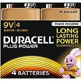 Duracell MN1604 Plus Power 9v Batteries--Pack of 4