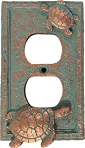 Top Brass Sea Turtle Nautical Beach Art Decor - Electrical Cover Wall Plate Bronze/Verdigris Finish - Single Switch, Double, Rocker, Outlet (Outlet)
