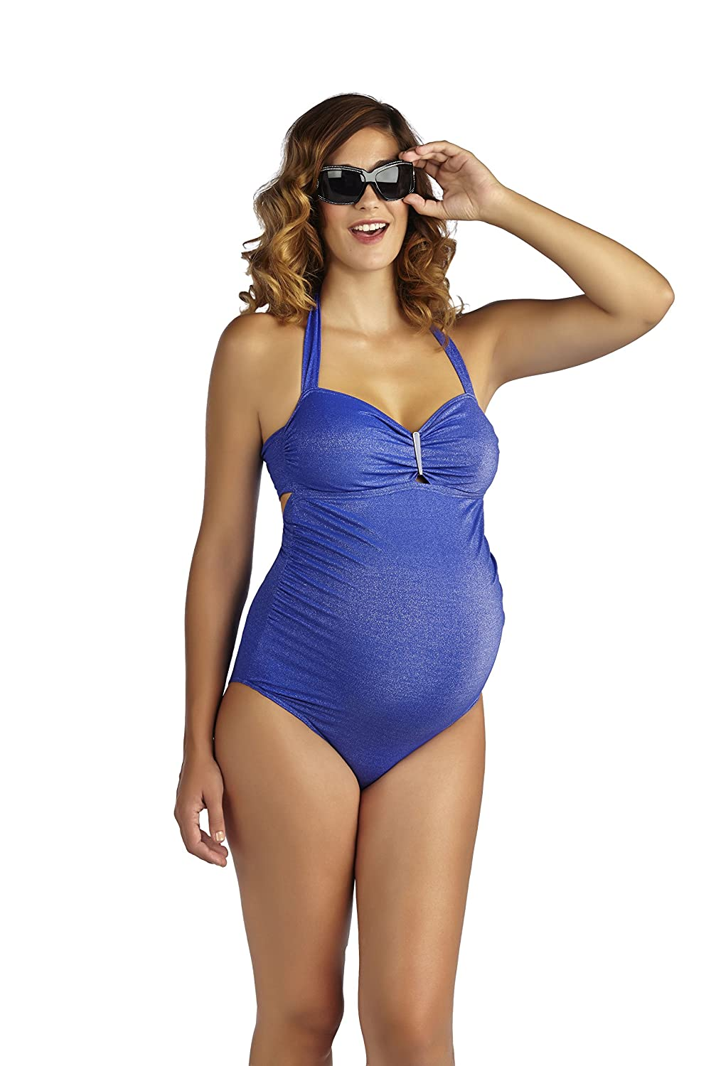PEZ D'OR Maternity Palm Springs Lurex One Piece bluee