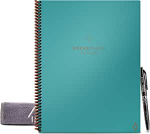 "Rocketbook Fusion Smart Reusable Notebook - Calendar, To-Do Lists, and Note Template Pages with 1 Pilot Frixion Pen & 1 Microfiber Cloth Included - Neptune Teal Cover, Letter Size (8.5"" x 11"")"