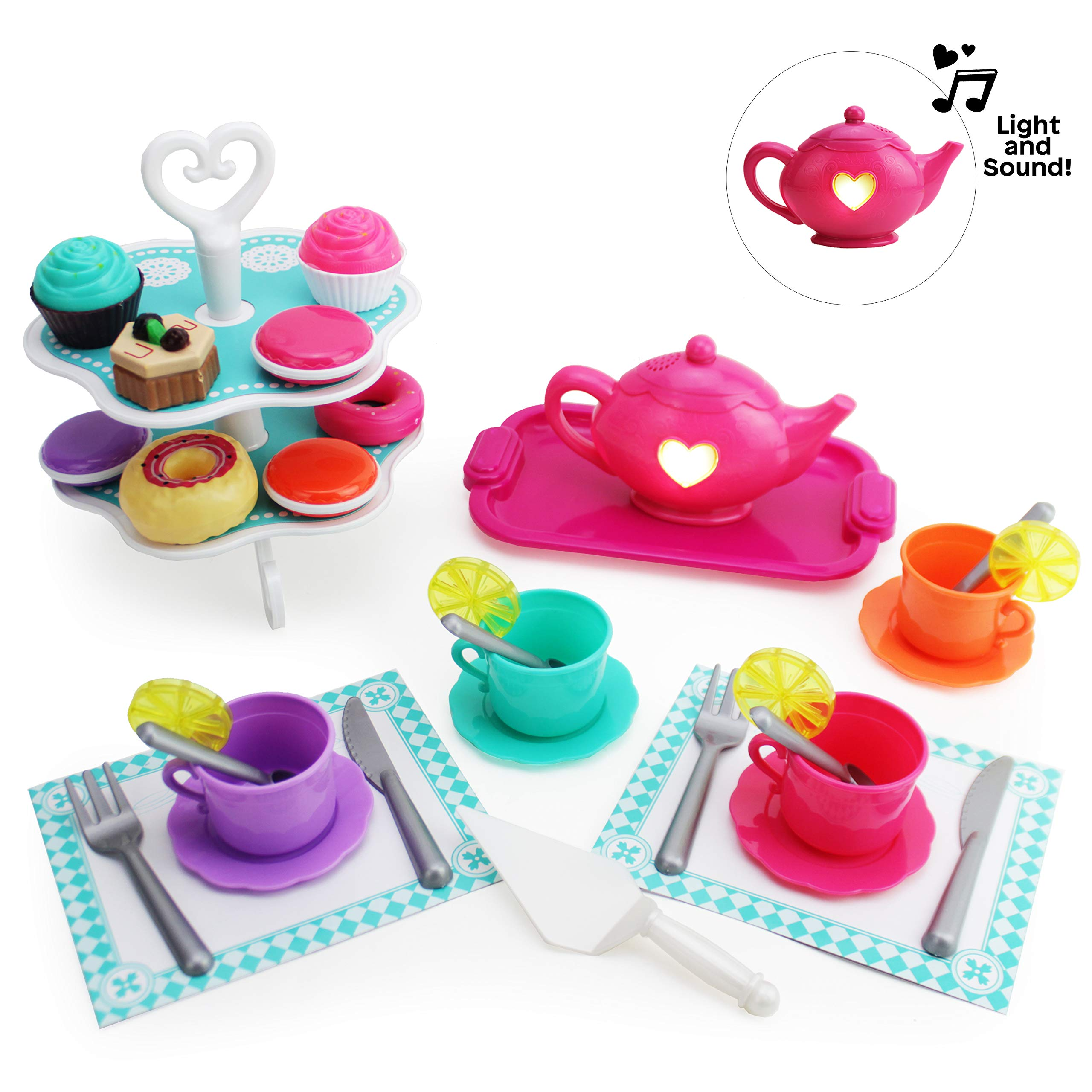 Boley Tea Set - 40 Piece Children's Tea Party Set with Princess Pink Teapot and Plastic Tray, Vintage Teacups with Saucers and Lemon Slices, Fancy Cake Stand with Cutlery and Play Food Mini Desserts by Boley