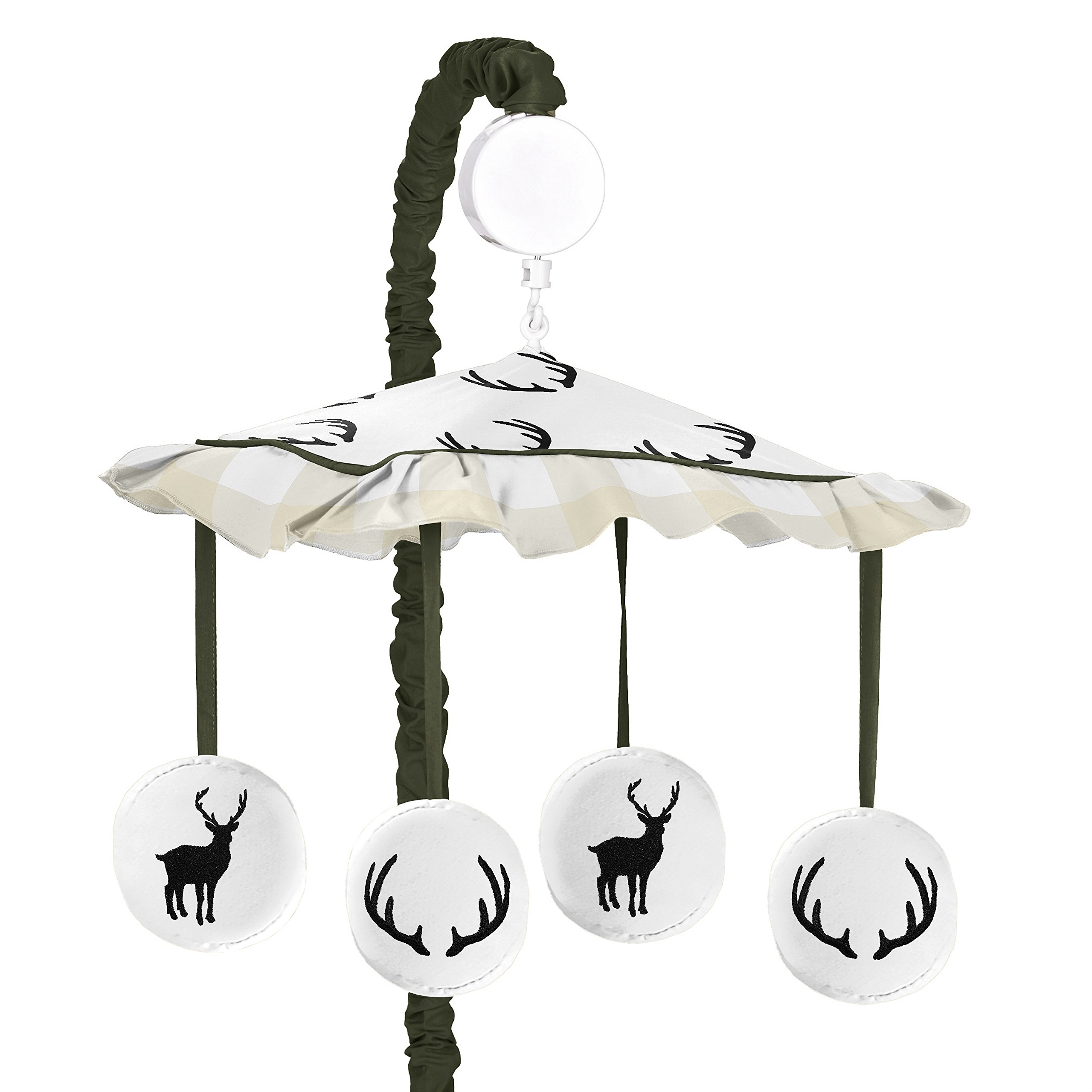 Sweet JoJo Designs Green and Beige Rustic Deer Buffalo Plaid Check Musical Baby Crib Mobile for Woodland Camo Collection