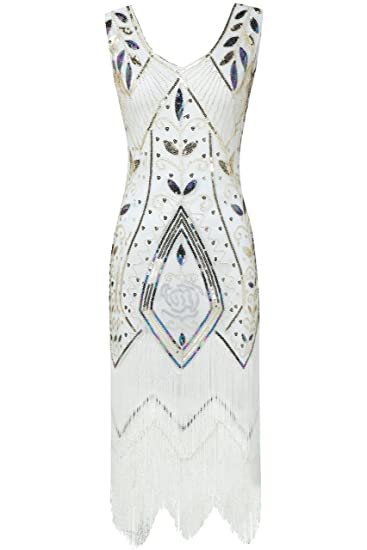 ArtiDeco Estilo de los Años 20 Flapper Vestido con Flecos Vestido Lentejuelas Disfaz Gatsby Vintage Vestido de Noche: Amazon.es: Ropa y accesorios