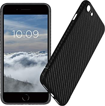 VIVERSIS Funda de Carbono Real para iPhone 8, Negro Mate, Ultra ...